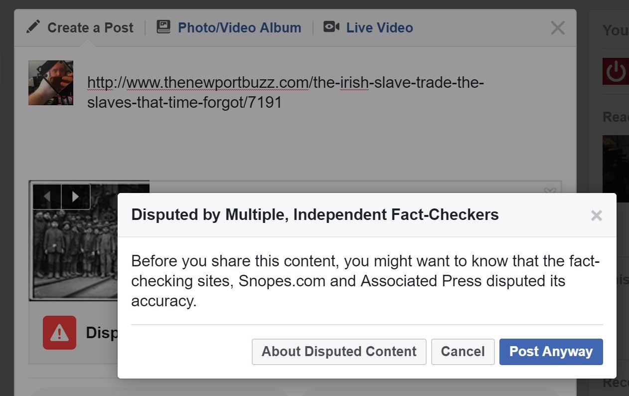 Fact Checking Fact Checkers >> Facebook starts warning U.S. users when they're sharing fake news | PCWorld