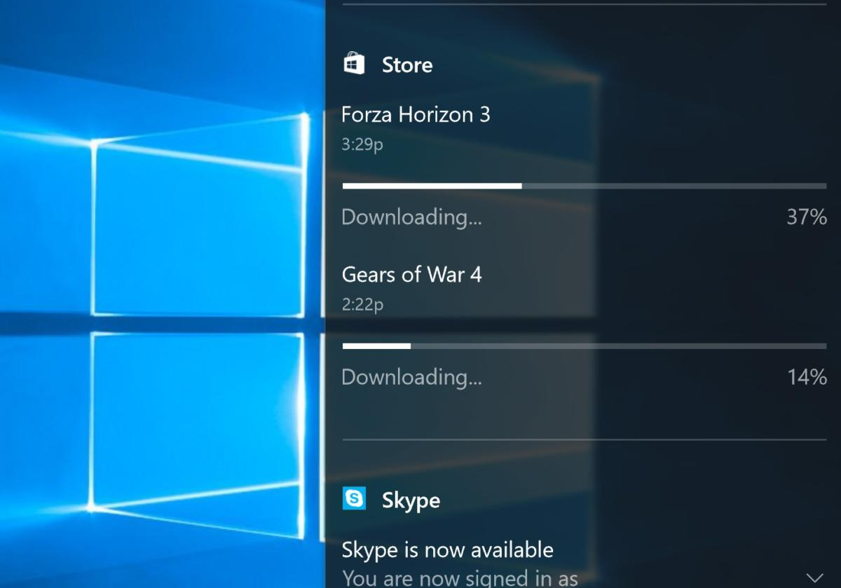 game downloads in notifications