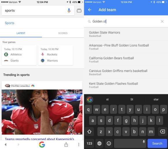 google app sports