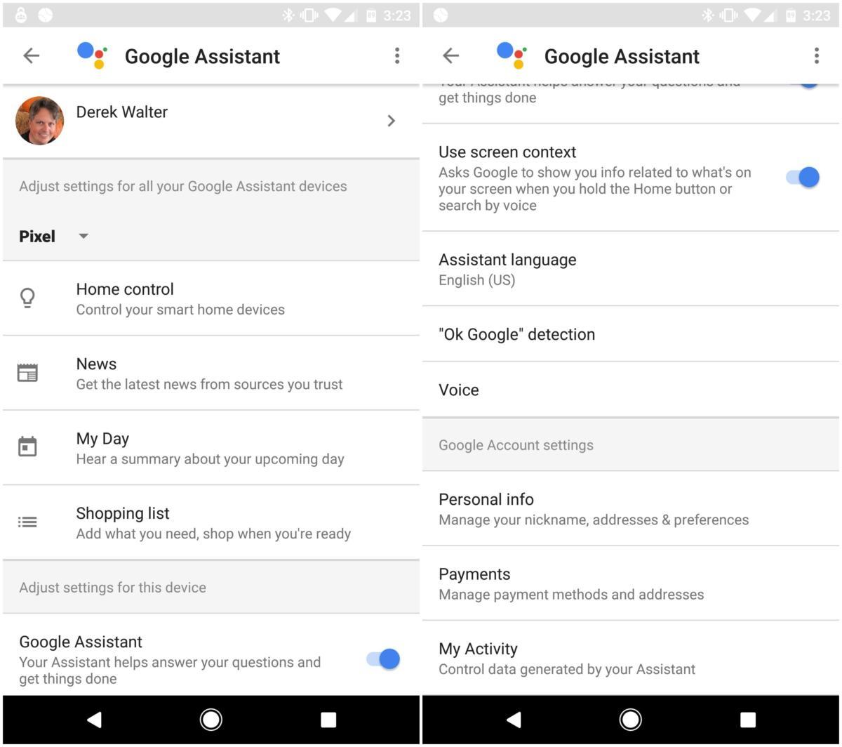 google assistant settings app