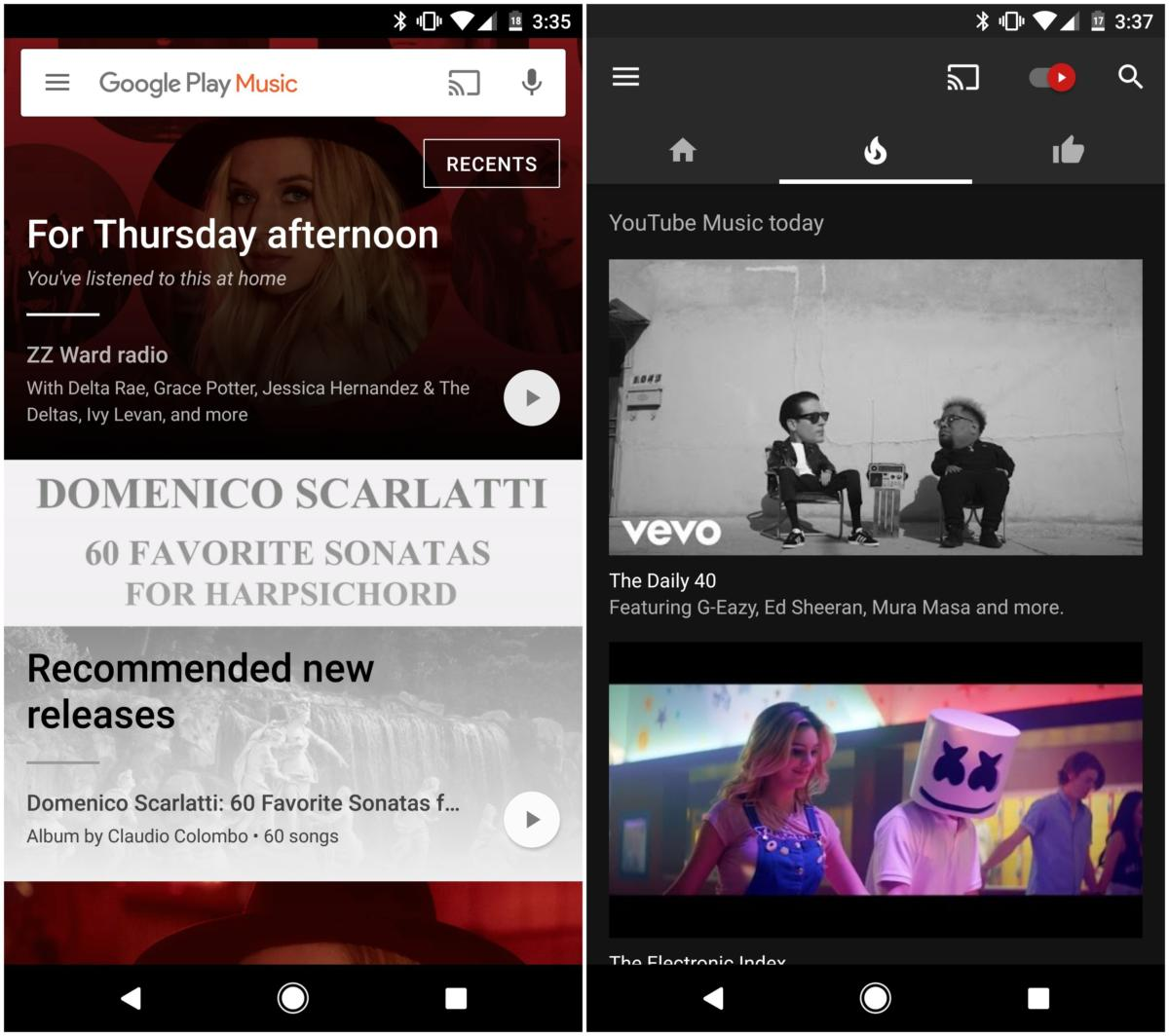 google play youtube music apps android