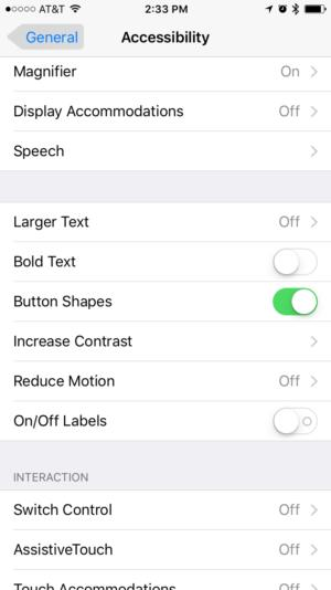 ios accessibility visible buttons