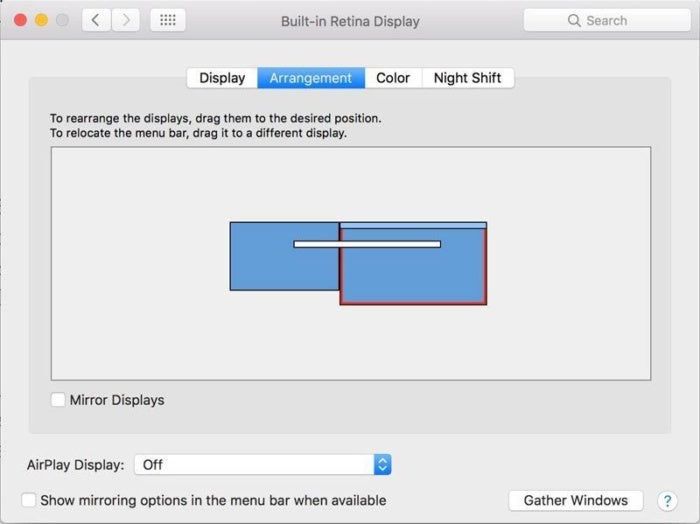 macos displays arrangement
