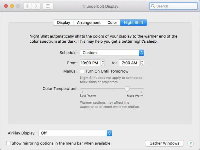 macos night shift settings custom