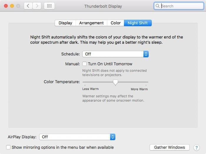 macos night shift settings tbolt display