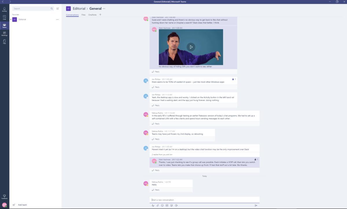 Microsoft Teams main chat