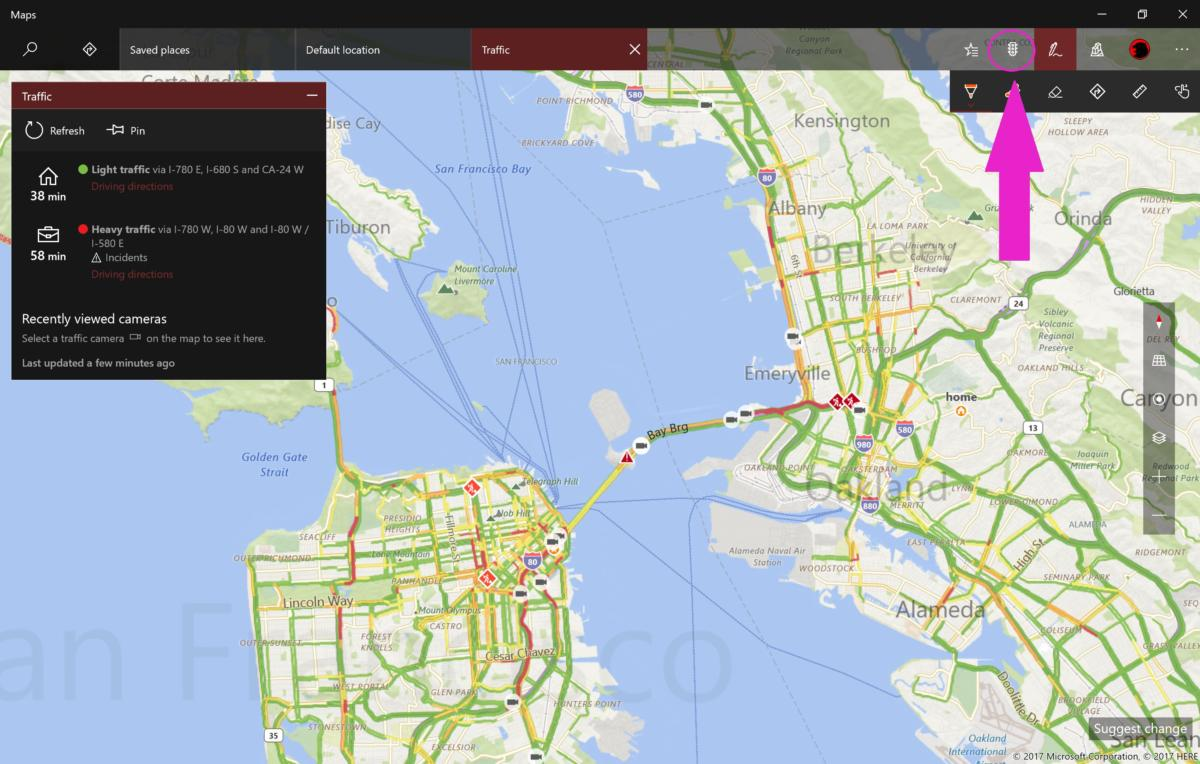 Windows 10 Creators Update maps traffic check edit