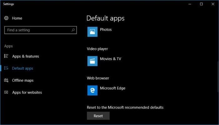 Win10 hijacked default settings