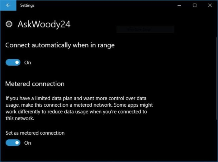 Win10 wi-fi connection properties