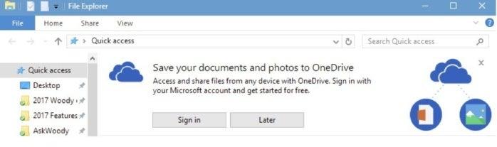 Win10 advertising for OneDrive in File Explorer