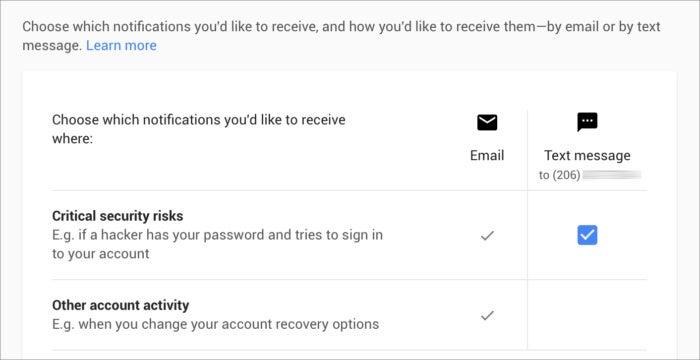 privatei google security alerts