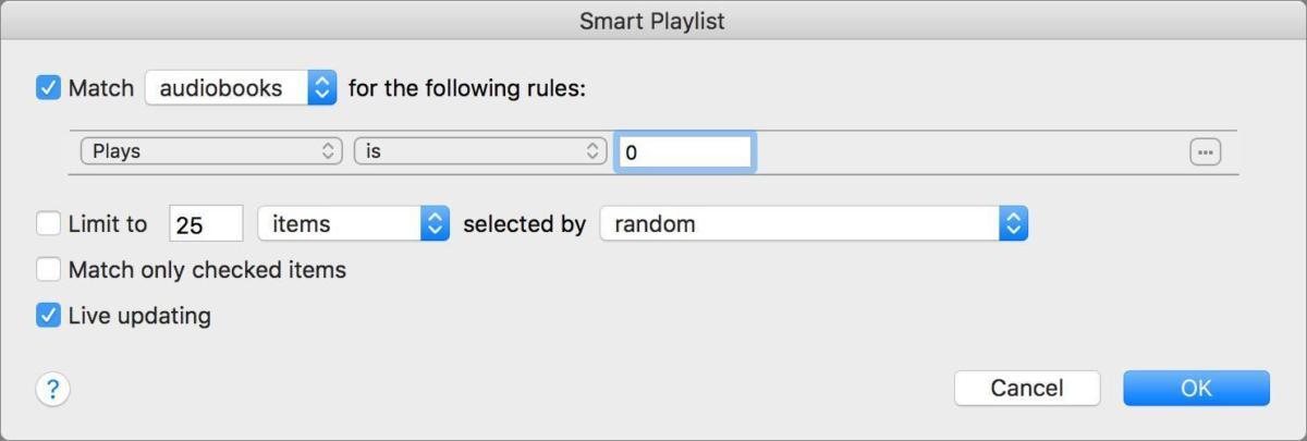smart playlist audiobooks