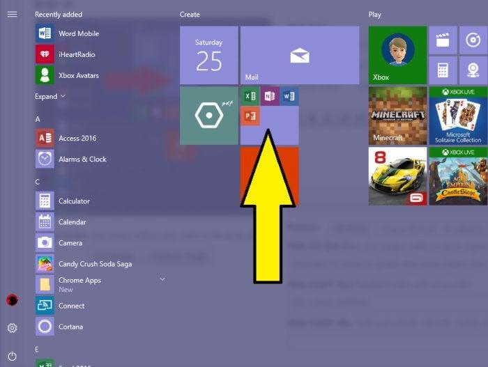Windows 10 Creators Update start menu folders blue and gold