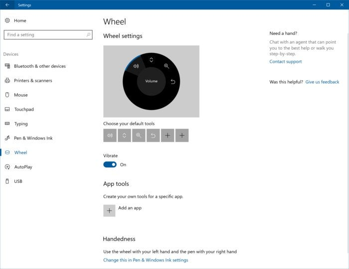 Windows 10 Creators Update surface dial settings