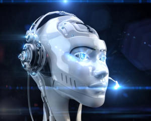 AI head with headset on robocalls