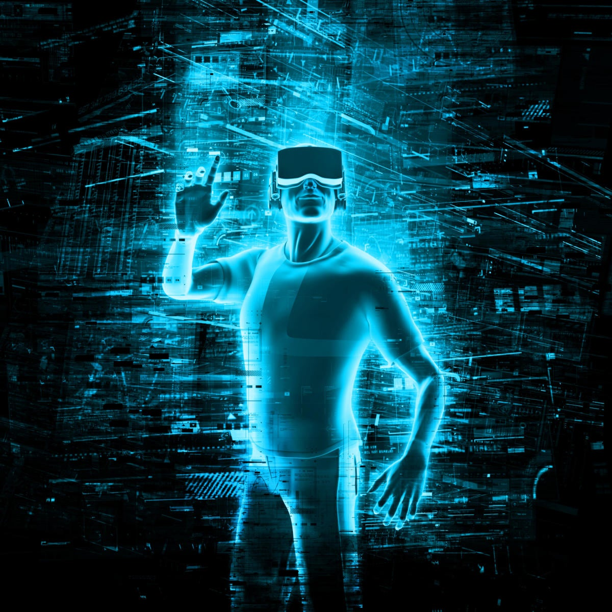 neon digital virtual reality person
