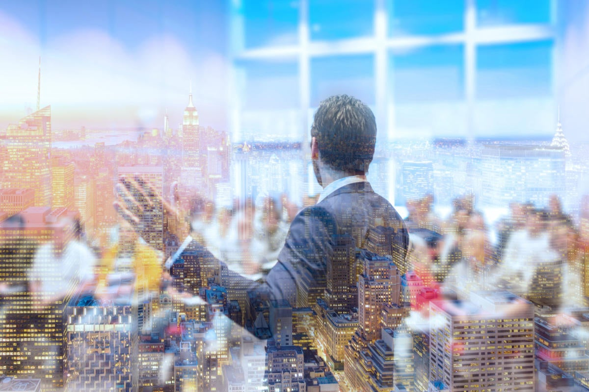 montage of speaker at conference with building superimposed