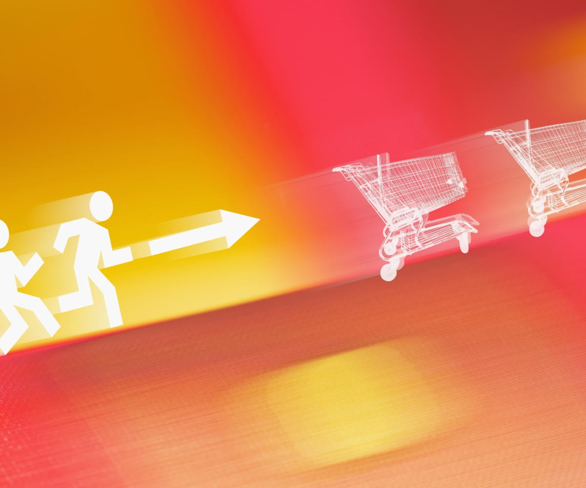 people icons chasing shopping carts commerce