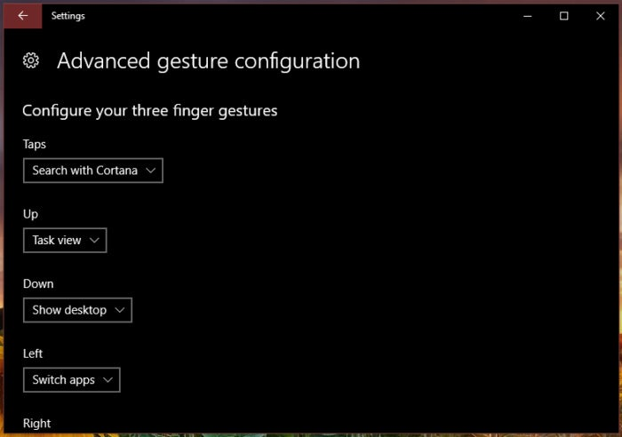Windows 10 Creators Update touchpad advanced gesture configuration