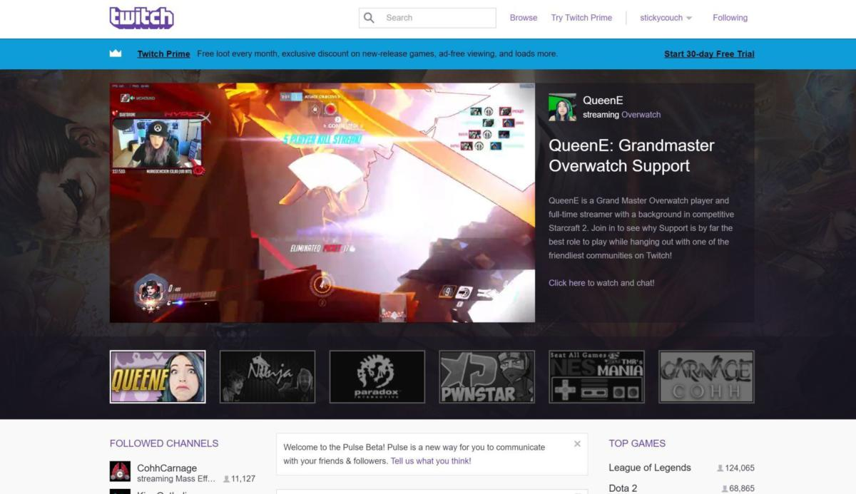 twitch games homepage