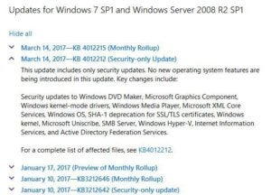 updates for win7