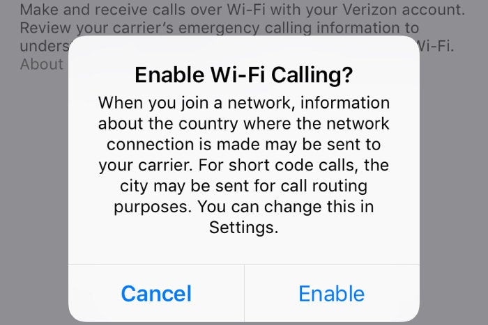 wi fi calling verizon ios 10.3