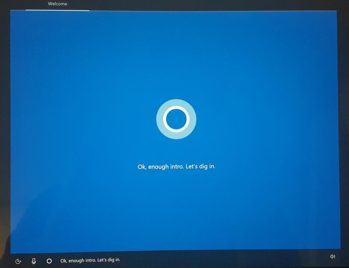 windows 10 Creators Update cortana oobe