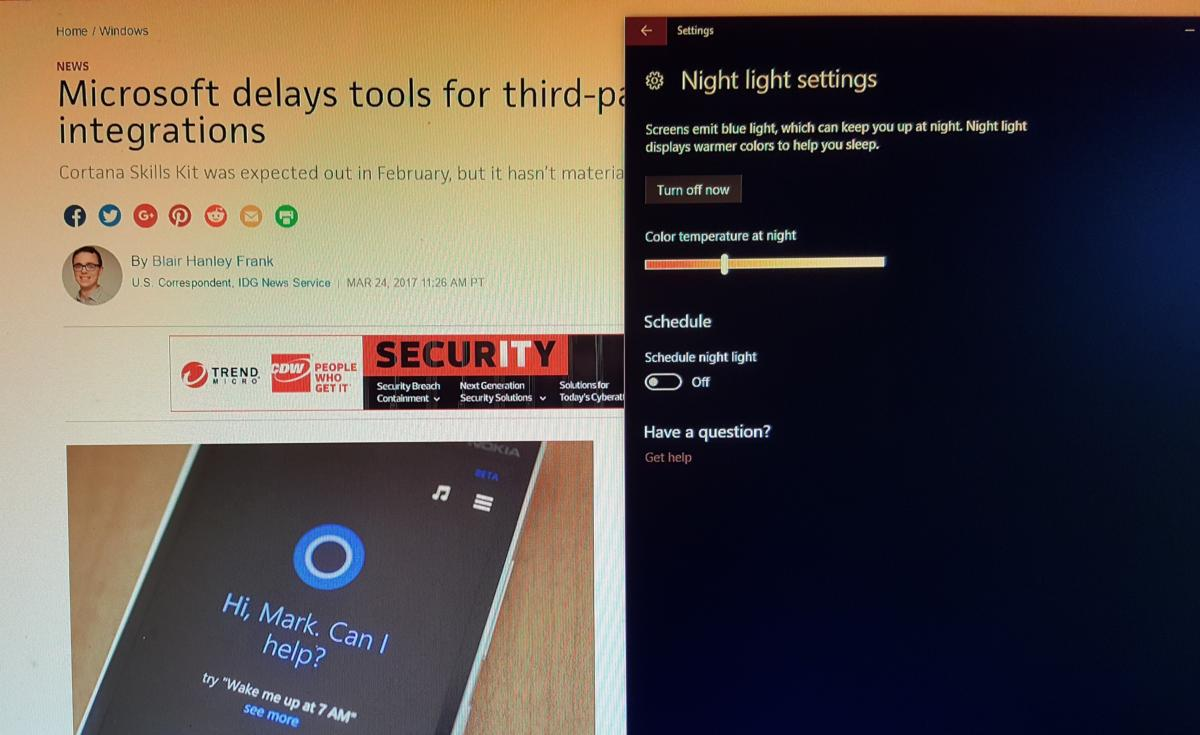windows 10 creators update night light edit