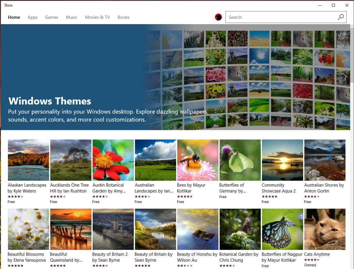 windows store Windows 1 Creators Update themes