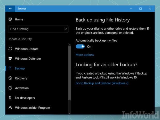 Incremental backup: File History