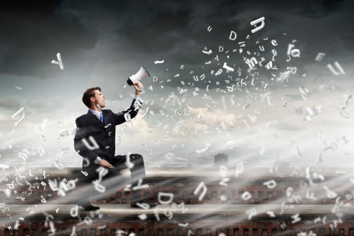 business man megaphone message <<< HOLD - LEAD ART FOR UPCOMING CW FEATURE >>>