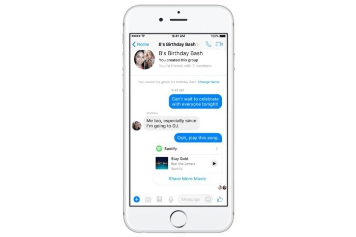 photo image Facebook will let you play songs from Spotify and Apple Music inside Messenger