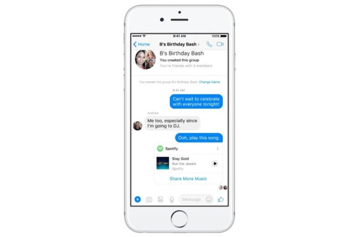 fb messenger chat extensions spotify
