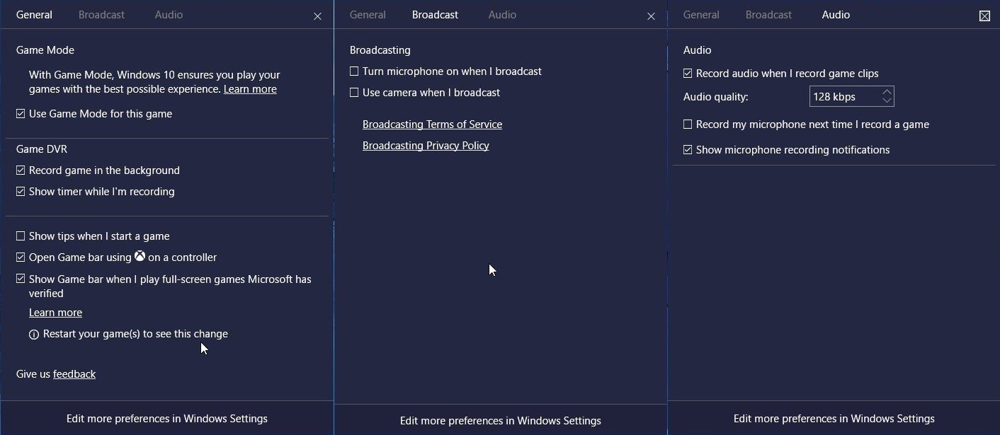 disable game dvr and broadcast user service