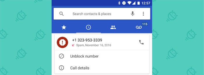 Google Android Phone App: Caller ID Spam