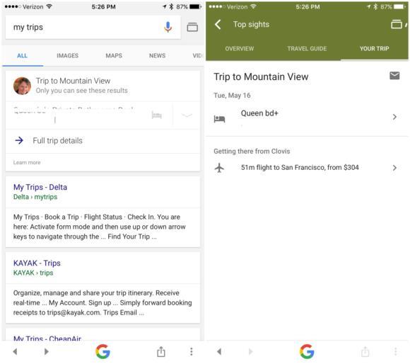 google app my trips