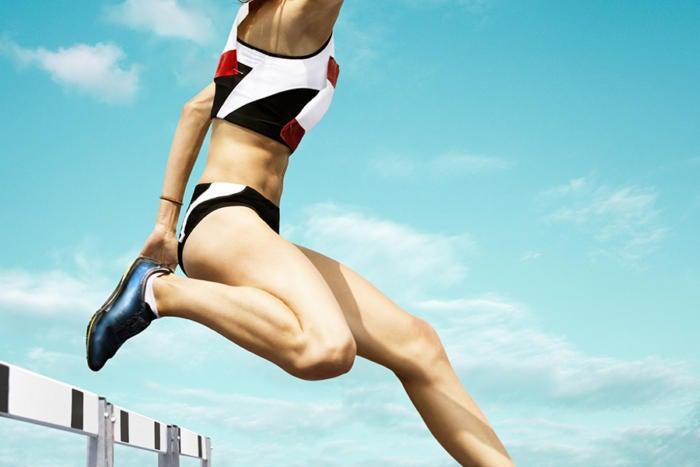 hurdling woman track