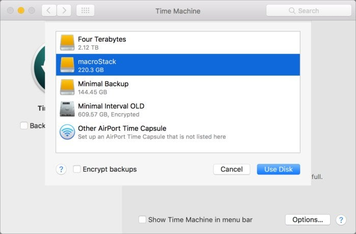 mac911 time machine drive selection
