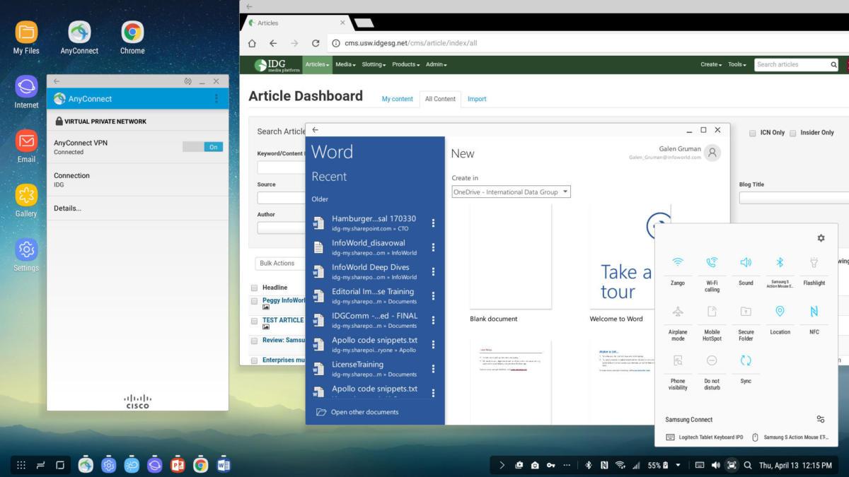 Samsung Dex Station desktop screen