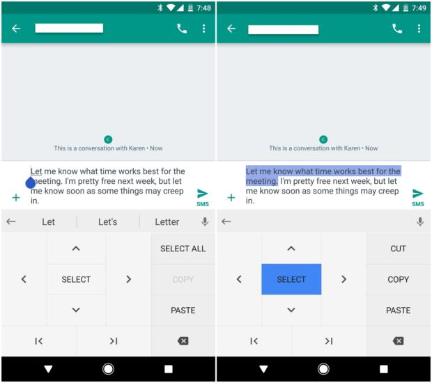 text selection gboard