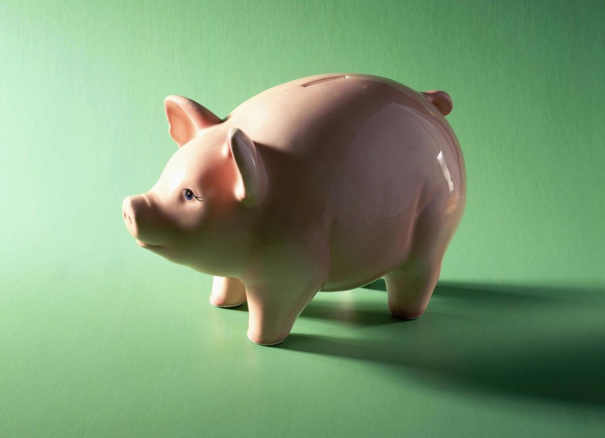 piggy bank on green background