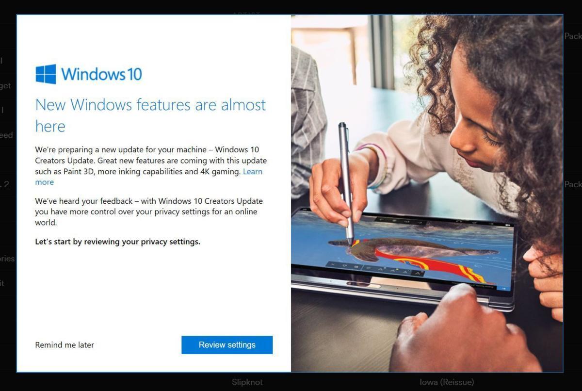 windows 10 creators update prompt