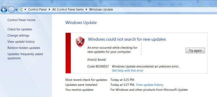 windows could not search for updates