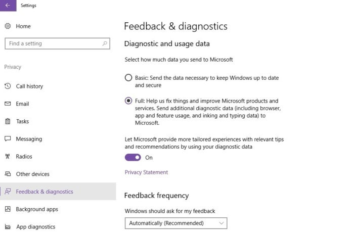 windows 10 privacy setting basic full data