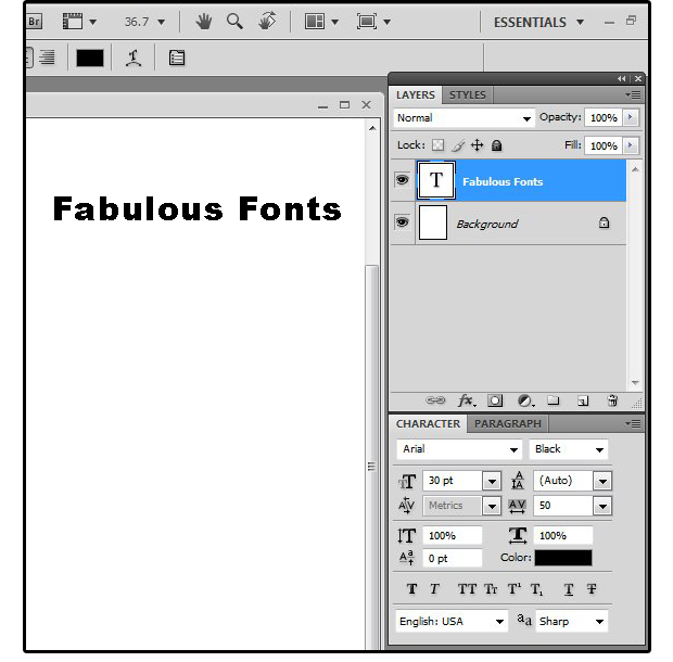 02 enter text open layers styles character paragraph tools windows
