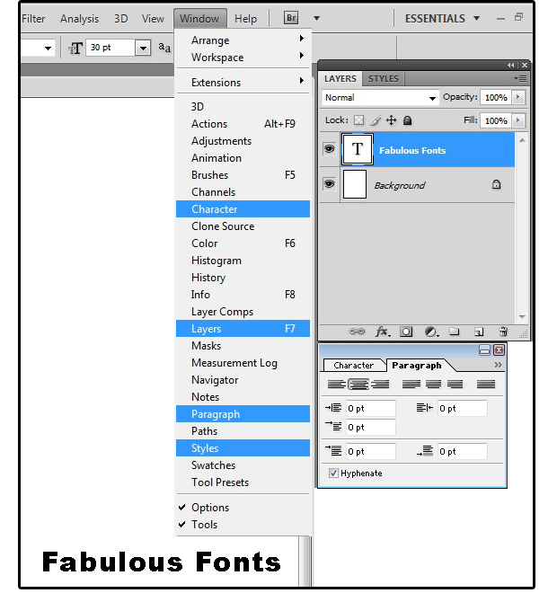Photoshop fonts using text type and text editing pcworld 04 define paragraph alignment margins line spacing etc ccuart Image collections