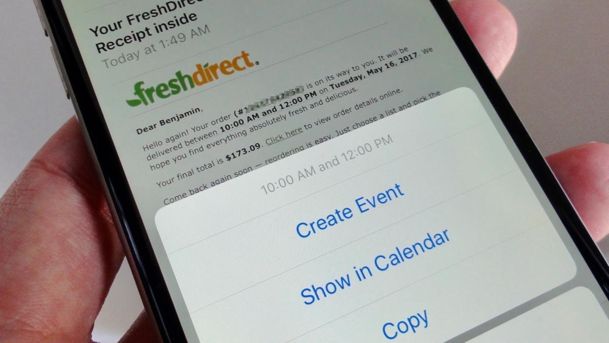 Create an event directly from a Mail message