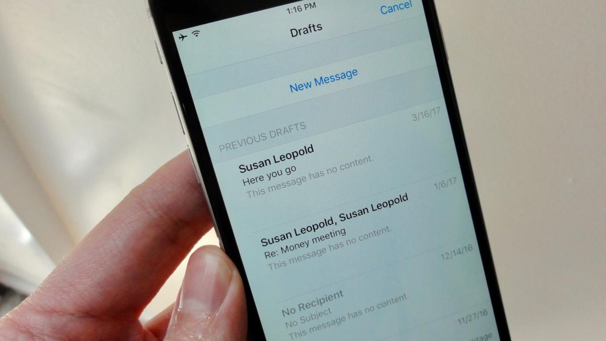 Jump directly to your draft Mail messages