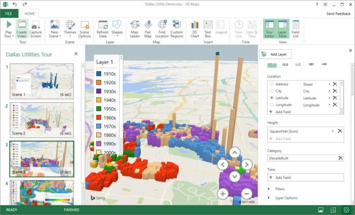 Excel 2016 3D map