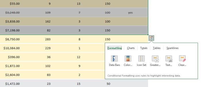 Excel 2016 Quick Analysis tool